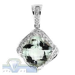 Womens Green Amethyst Diamond Halo Drop Pendant 14K White Gold
