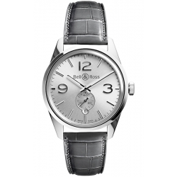 BRG123-WH-ST/SCR/2 Bell & Ross BR 123 Officer Silver Leather Watch