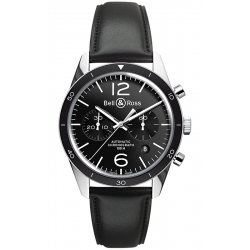BRV126-BL-BE/SCA Bell & Ross BR 126 Chrono Sport Leather Watch