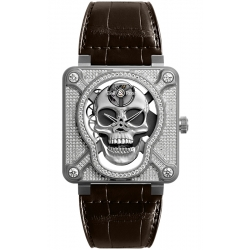 BR01-SKULL-SK-FLD Bell & Ross Laughing Skull Full Diamond Watch