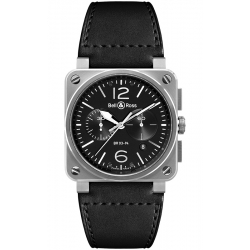 BR0394-BL-SI/SCA Bell & Ross BR 03-94 Chrono Steel 42 mm Watch