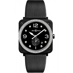 BRS-BL-CES-LGD/SSA Bell & Ross BR S Quartz Black Ceramic Diamonds Satin 39 mm Watch