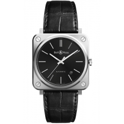 BRS92-BLC-ST/SCR Bell & Ross BR S-92 Automatic Black Steel Leather Watch