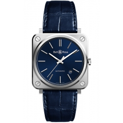 BRS92-BLU-ST/SCR Bell & Ross BR S-92 Automatic Blue Steel Leather Watch