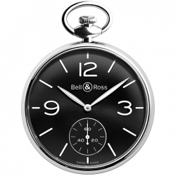 BRPW1-BL-ST Bell & Ross Vintage PW1 Steel Black Dial Pocket Watch