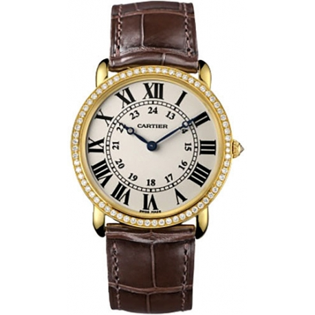 Cartier Ronde Louis Gold Diamond Mens Watch WR000451