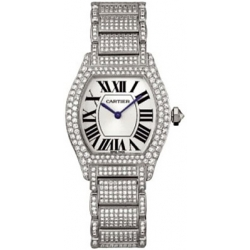 Cartier Tortue 18K White Gold Diamond Ladies Watch WA5049MC