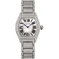Cartier Tortue 18K White Gold Diamond Ladies Watch WA5049MC