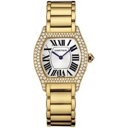 Cartier Tortue 18K Yellow Gold Diamond Ladies Watch WA5048W8
