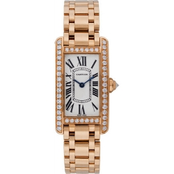 Cartier Tank Americaine 18K Rose Gold Bracelet Watch WB7079M5