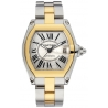 Cartier Roadster Two Tone Steel Gold Mens Watch W62031Y4