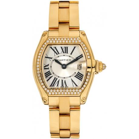 Cartier Roadster Gold Bracelet Diamond Womens Watch WE5001X1