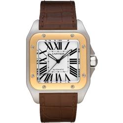 Cartier New Santos Stainless Steel Gold Mens Watch W20072X7