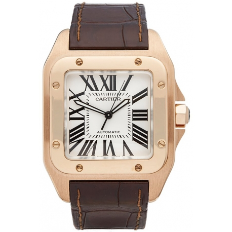Cartier New Santos 18K Rose Gold Mens Watch W20095Y1