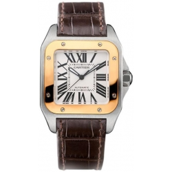 Cartier New Santos Series Gold Steel Unisex Watch W20107X7