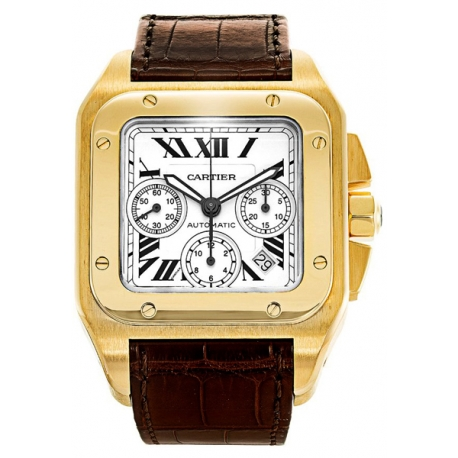 Cartier New Santos Series 18K Yellow Gold Mens Watch W20096Y1