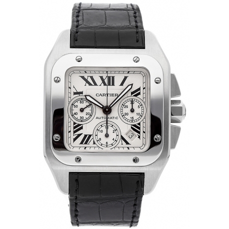 Cartier New Santos Stainless Steel Mens Watch W20090X8