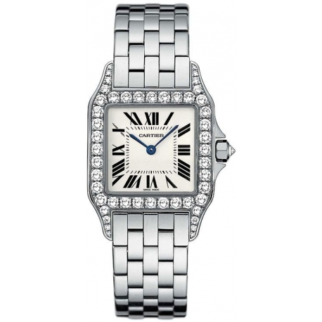 Cartier New Santos White Gold Diamond Womens Watch WF9003Y8