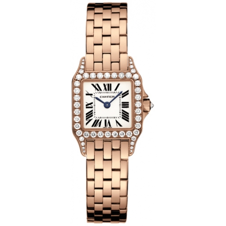 Cartier New Santos Rose Gold Diamond Womens Watch WF9008Z8