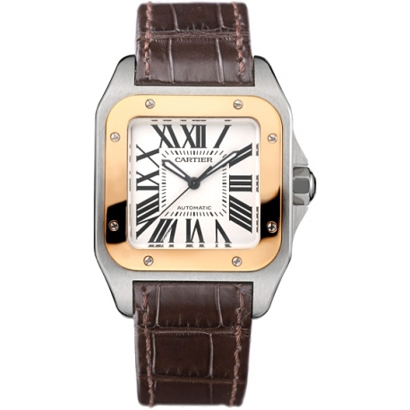 Cartier Santos 100 Unisex Rose Gold Steel Watch W20107X7-OR