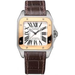 Cartier Santos 100 Unisex Rose Gold Steel Watch W20107X7-OR