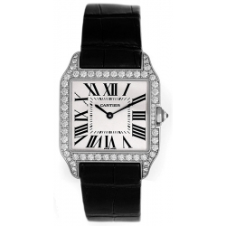 Cartier Santos Dumont Gold Diamond Womens Watch WH100251