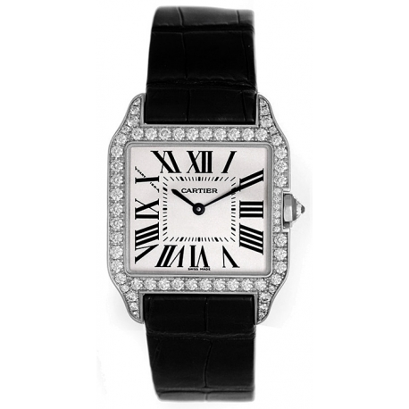 Cartier Santos Dumont White Gold Diamond Womens Watch WH100251