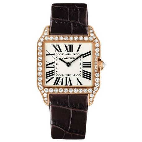 Cartier Santos Dumont 18K Rose Gold Diamond Womens Watch WH100351