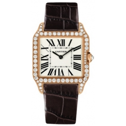 Cartier Santos Dumont Rose Gold Diamond Womens Watch WH100351