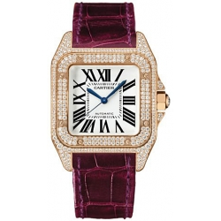 Cartier Santos 100 Diamond Rose Gold Ladies Watch WM502151