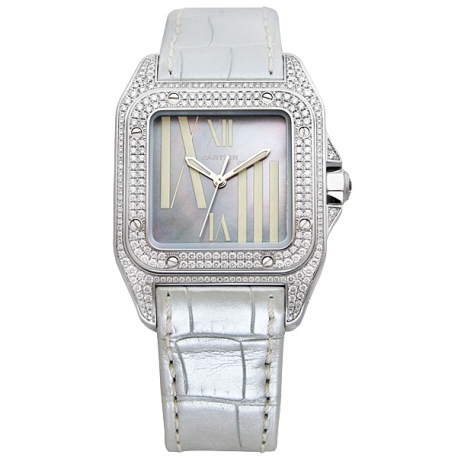 Cartier Santos 100 Unisex White Gold Diamond Watch WM503251