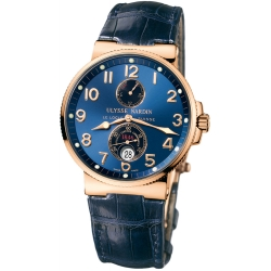 Ulysse Nardin Marine Blue Dial Rose Gold Mens Watch 266-66/623