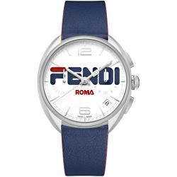 F236014037 Fendi Momento Mania Blue Leather Strap 40 mm Watch