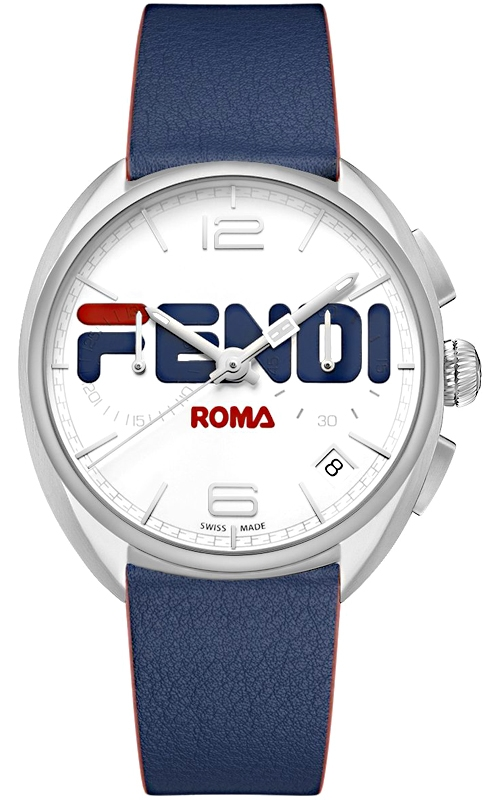 ffdb09619cbd F236014037 Fendi Momento Mania Blue Leather Strap 40 mm Watch