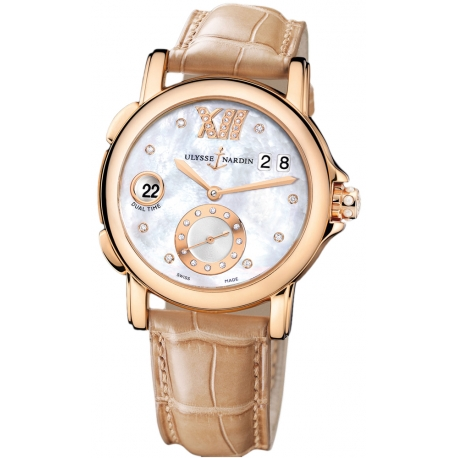 Ulysse Nardin GMT Big Date Rose Gold Womens Watch 246-22/391