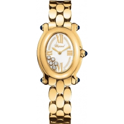 Chopard Happy Sport Oval Yellow Gold Womens Watch 277466-0002