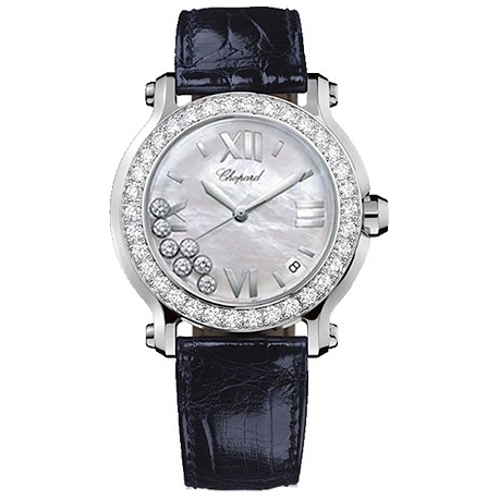 Chopard Happy Sport Round Steel Diamond Womens Watch 278478-2004