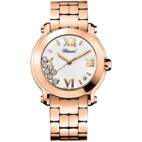 Chopard Happy Sport II Round Rose Gold Bracelet Watch 277472-5001