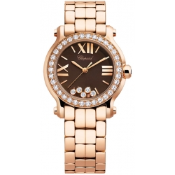 Chopard Happy Sport Chocolate Dial Rose Gold Diamond Watch 274189-5008