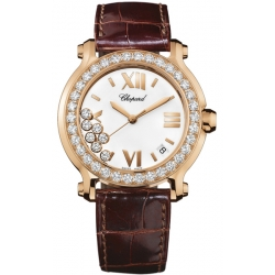 Chopard Happy Sport Womens Rose Gold Diamond Watch 277473-5001