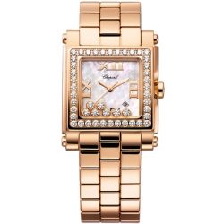 Chopard Happy Sport Square Rose Gold Diamond Watch 275322-5002