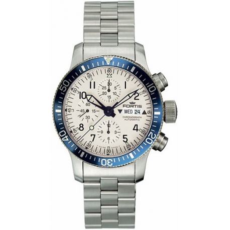 Fortis B-42 Diver Chronograph Mens Steel Bracelet Watch 640.10.12M