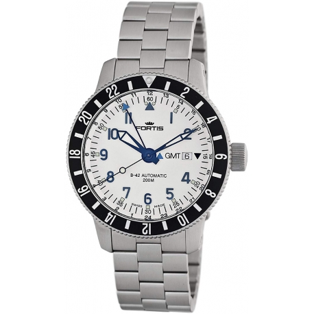 Fortis B-42 Diver Gmt Series Mens Steel Bracelet Watch 650.10.12M