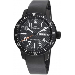 Fortis B-42 Flieger Mens Black PVD Carbon Fiber Watch 647.28.71K