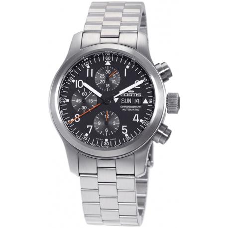 Fortis B-42 Pilot Professional Chronograph Steel Bracelet Watch 635.10.11.M