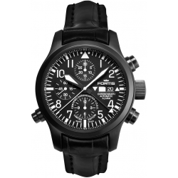 Fortis B-42 Flieger Chronograph Black PVD Case Watch 657.18.11LC