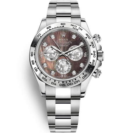 116509-0044 Rolex Oyster Cosmograph Daytona White Gold Black MOP Dial Watch
