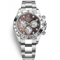 Rolex Cosmograph Daytona White Gold Black MOP Dial Watch 116509