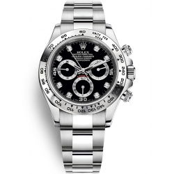 Rolex Cosmograph Daytona White Gold Black Dial Watch 116509