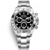 116509-0055 Rolex Oyster Cosmograph Daytona White Gold Black Dial Watch